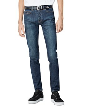 The Kooples - Cotton Blend Faded Slim Jeans in Dark Blue