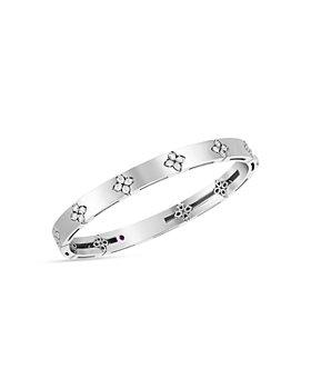 Roberto Coin - 18K White Gold Love in Verona Diamond Flower Bangle Bracelet
