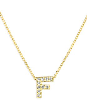 Roberto Coin - 18K Yellow Gold Tiny Treasure Diamond Initial F Love Letter Pendant Necklace, 16-18""