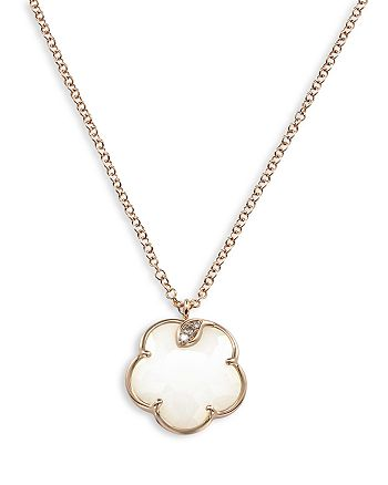 "Pasquale Bruni - 18K Rose Gold Petit Joli White Agate and Diamond Pendant Necklace, 16.75"""
