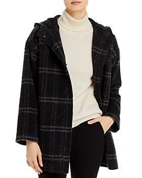 Eileen Fisher - Hooded Plaid Coat