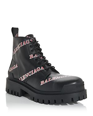 Balenciaga Men's Logo Print Combat Boots