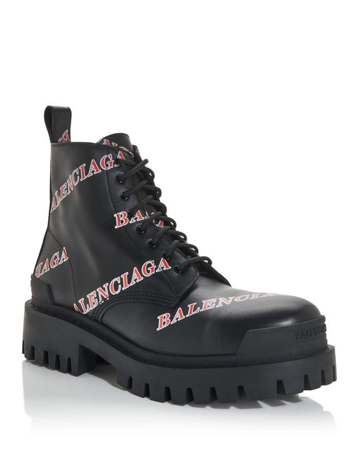 Balenciaga Men's Logo Print Combat Boots    Bloomingdale's