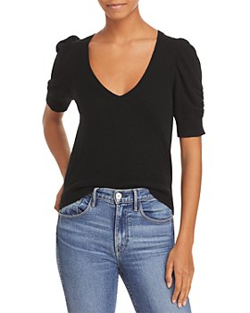FRAME - Frankie Cashmere Blend Puff Sleeve Sweater