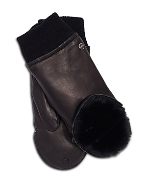 Zip Top Leather & Faux Fur Mitten