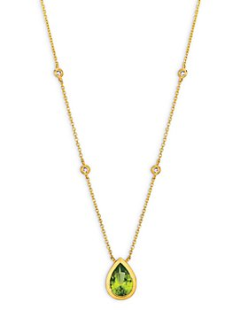 """Bloomingdale's - Peridot and Diamond Pear-Shaped Pendant Necklace in 14K Yellow Gold, 16"""" - 100% Exclusive"""