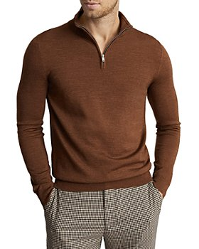 REISS - Blackhall Wool Funnel Neck Half Zip Sweater