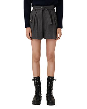 Maje - Island High Waisted Pinstriped Shorts