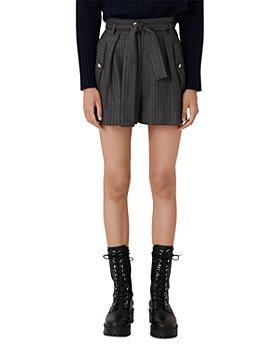 Maje - Island High Waisted Pinstriped Shorts