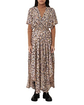 Maje - Rachelle Floral Print Smocked Dress