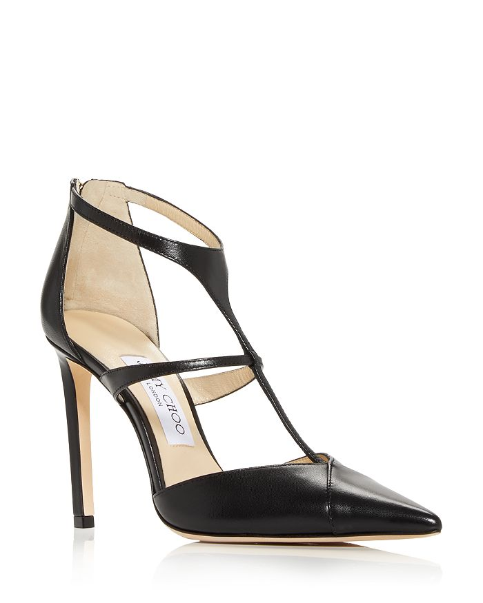 Jimmy Choo - Women's Saoni 100 T Strap Pointed Toe Pumps