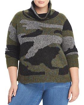 AQUA Curve - Plus Size Knit Camo Turtleneck Sweater - 100% Exclusive