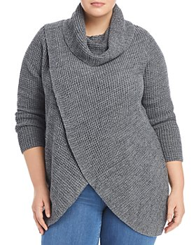 Single Thread Plus - Plus Size Cross Front Cowl Neck Sweater