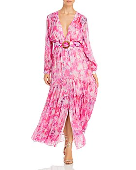 Rococo Sand - Belted Floral Chiffon Maxi Dress