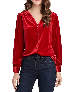 1.state Tops VELVET BUTTON-FRONT TOP
