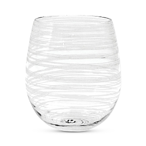 Vietri Swirl White Stemless Wine Glass-Home