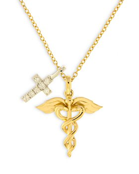 """Bloomingdale's - Diamond Cross & Medical Pendant Necklace in 14K Yellow Gold 17"""", 0.07 ct. t.w. - 100% Exclusive"""
