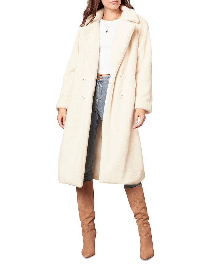 Cupcakes And Cashmere Celestia Faux Fur Trench Coat In Birch White