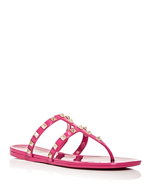 VALENTINO WOMEN'S STUDDED THONG SANDALS