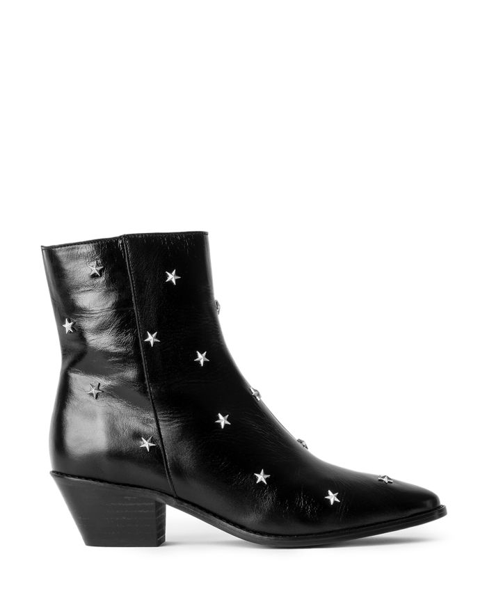 Zadig & Voltaire Women's Tyler Pointed Toe Star Studded Vintage Look Patent Leather Ankle Boots    Bloomingdale's
