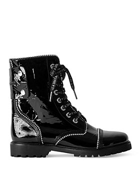 Zadig & Voltaire - Women's Joe Stud Piping Wrinkled Patent Leather Ranger Boots