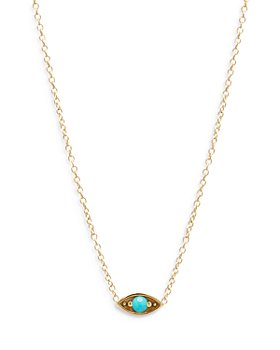 Zoë Chicco - 14k Yellow Gold Turquoise Eye Pendant Necklace, 14-16""