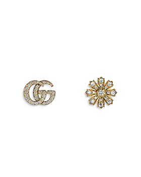 Gucci - 18K Yellow Gold Flora & Double G Diamond Stud Earrings