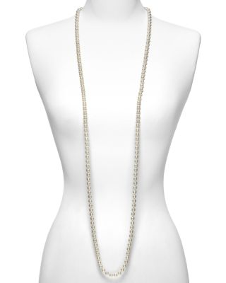 Women'S 8Mm Round White Simulated Pearl Endless Necklace, 60, White/ Silver