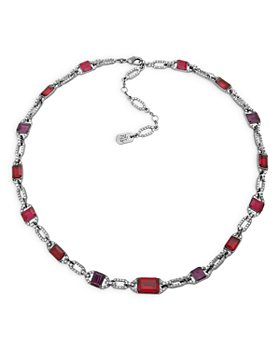 "Ralph Lauren - Pavé & Red Stone Collar Necklace in Hematite Tone, 16""-19"""