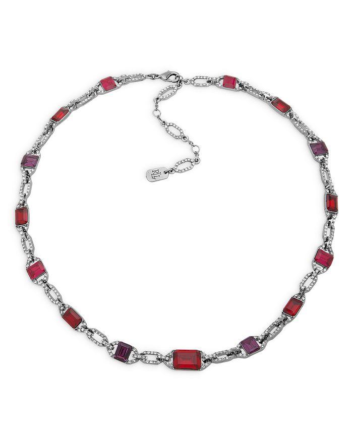 "Ralph Lauren - Pavé & Red Stone Collar Necklace in Hematite Tone, 16""-19"""