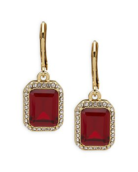 Ralph Lauren - Pavé & Red Stone Drop Earrings in Gold Tone