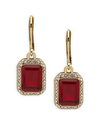 Ralph Lauren - Pavé & Red Stone Drop Earrings in Gold Tone
