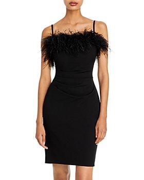 AQUA - Feather Trim Mini Dress - 100% Exclusive