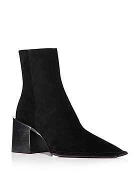 Alexander Wang - Women's Parker Square Toe Stacked Heel Suede Booties
