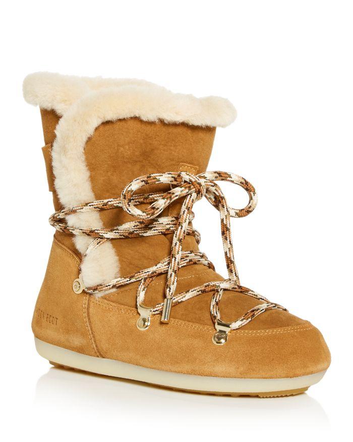 Moon Boot Women's Dark Side Waterproof Shearling Cold Weather Boots  | Bloomingdale's
