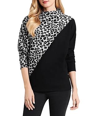 Vince Camuto Leopard Print Mock Neck Sweater