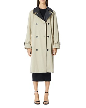 The Kooples - Leather Trim Trench Coat
