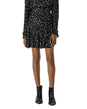The Kooples - Short Silver Polka Dotted Skirt