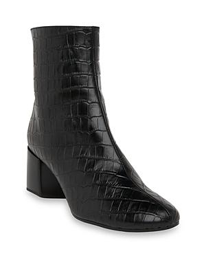 Whistles Women's Elora Croc Block Heel Boots In Black