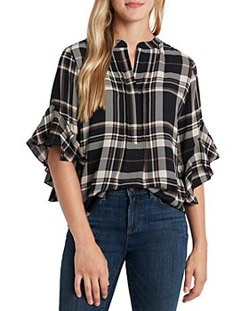 VINCE CAMUTO - Plaid Ruffled Top