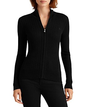 Ralph Lauren - Cable Knit Mock Neck Cardigan