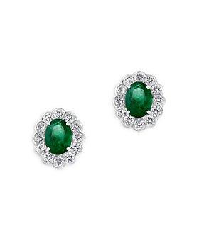 Bloomingdale's - Emerald & Diamond Stud Earrings in 14K White Gold - 100% Exclusive
