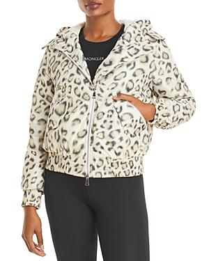 Moncler Aldib Leopard Print Hooded Down Bomber Jacket
