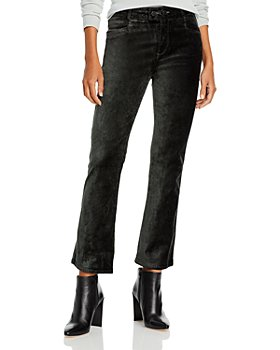PAIGE - Claudine Velvet Double Button Flare Leg Ankle Jeans in Dark Spruce