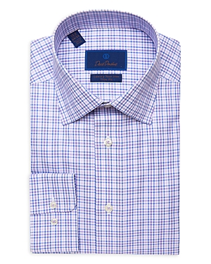 David Donahue Gingham Luxury Non Iron Trim Fit Dress Shirt