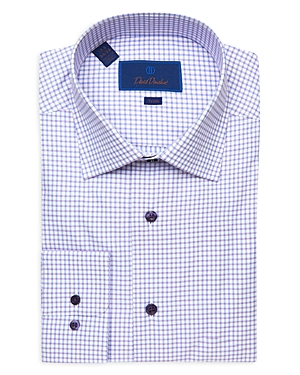 David Donahue Windowpane Plaid Trim Fit Dress Shirt-Men