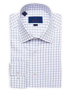 David Donahue - Textured Check Trim Fit Dress Shirt