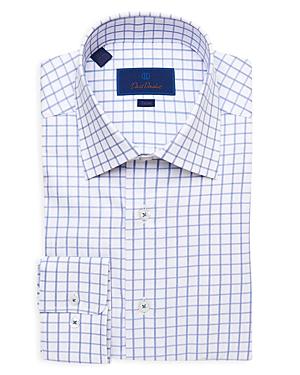 David Donahue Textured Check Trim Fit Dress Shirt-Men