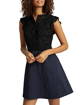 REISS - Hazel Fit and Flare Combo Dress