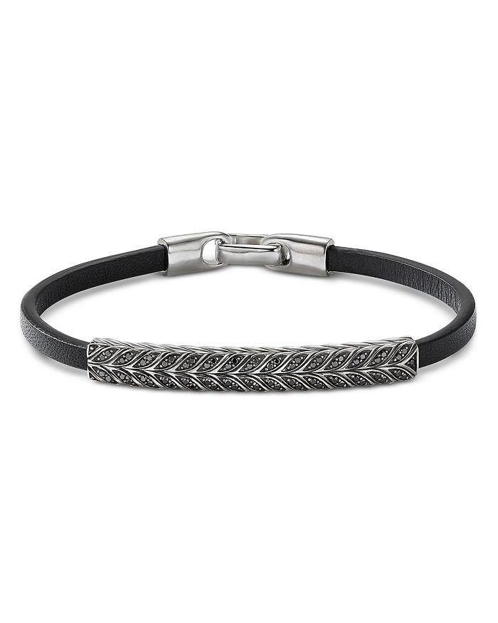 David Yurman - Chevron Leather ID Bracelet with Black Diamonds